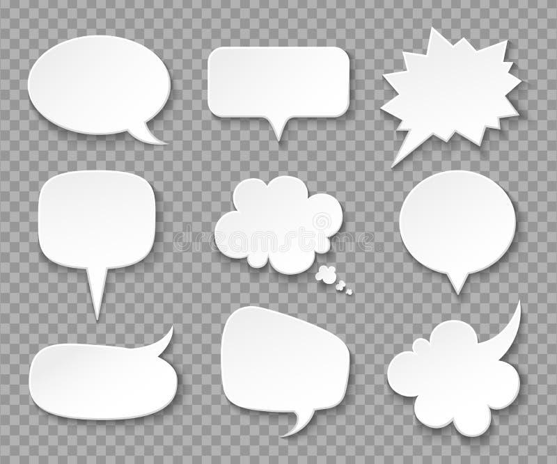 Бумажные пузыри речи Белые пустые думаемые воздушные шары, крича коробка Винтажная речь и думая пузырь вектора выражения бесплатная иллюстрация