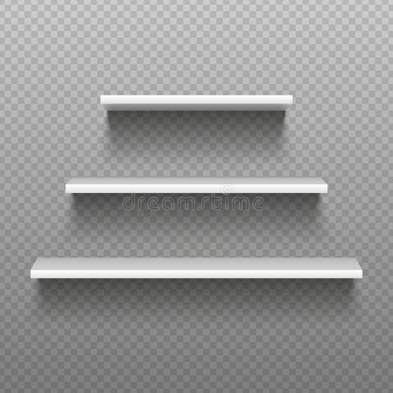 Белые пустые полки Пустые книжные полки Интерьер магазина простоты, витрина супермаркета Изолированная иллюстрация вектора бесплатная иллюстрация