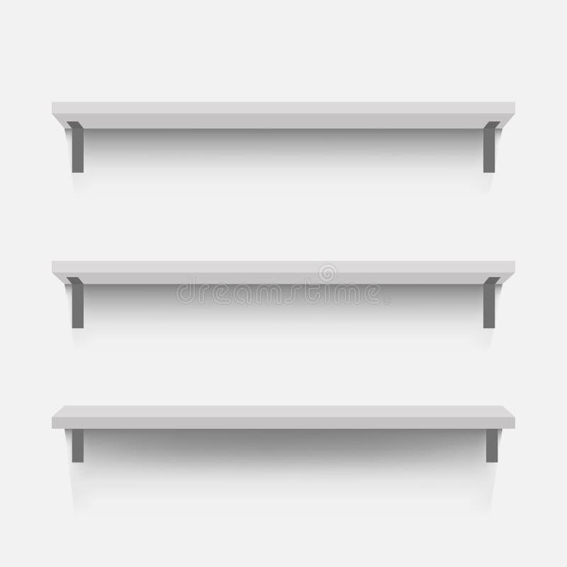 Белые пустые полки на стене Реалистическое изображение wi полок бесплатная иллюстрация
