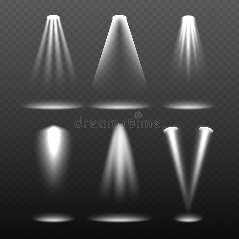 Белые света этапа Окружающая среда шаблон ярких и молнии проекции вектора реалистический бесплатная иллюстрация