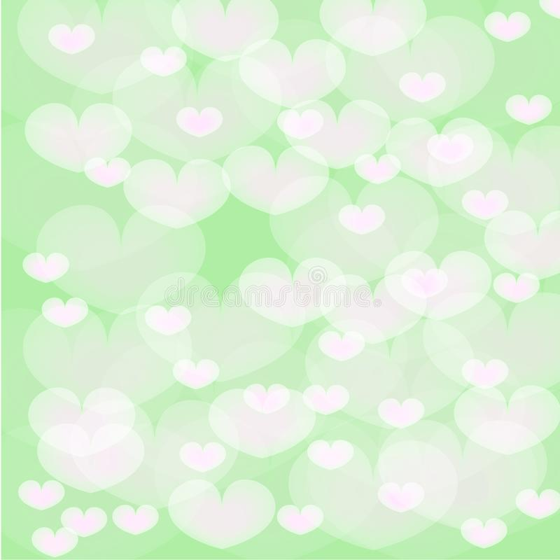 Белые сердца над зеленой предпосылкой иллюстрация штока
