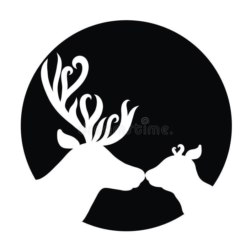 Белые силуэты 2 оленей на черных предпосылке, папе и bab бесплатная иллюстрация