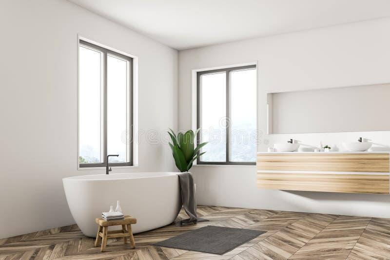 Белые скандинавские угол, ушат и раковина ванной комнаты иллюстрация штока