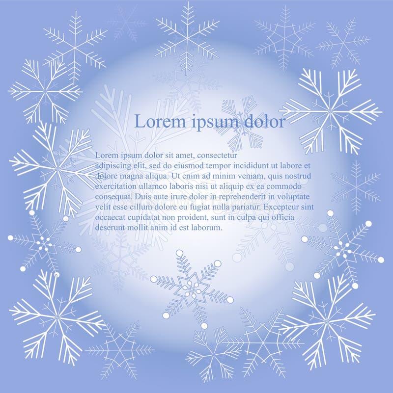 Белые снежинки на голубой предпосылке, текстуре, Lorem Ipsum, элементе дизайна градиента иллюстрация штока