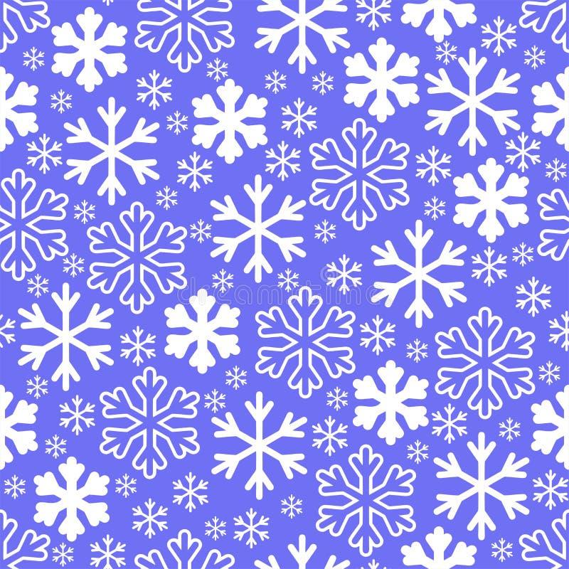 Белые снежинки на предпосылке неба зимы серой Вектор рождества бесплатная иллюстрация
