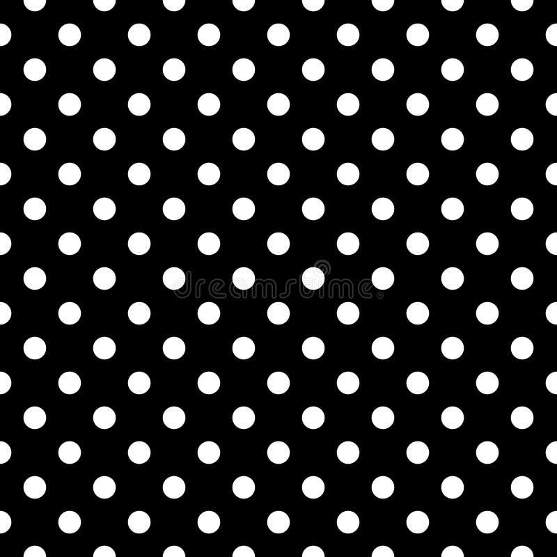 Белые точки польки на черной предпосылке, безшовной картине иллюстрация вектора