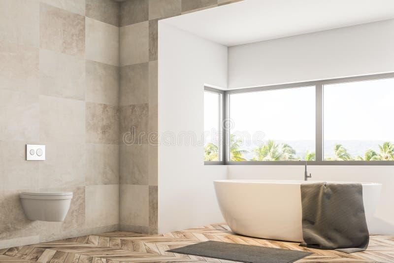 Белые угол, ушат и раковина ванной комнаты плитки иллюстрация вектора