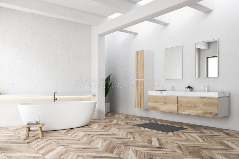 Белые угол, ушат и раковина ванной комнаты бесплатная иллюстрация