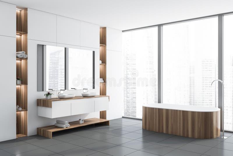 Белые угол, ушат и раковина bathroom просторной квартиры бесплатная иллюстрация