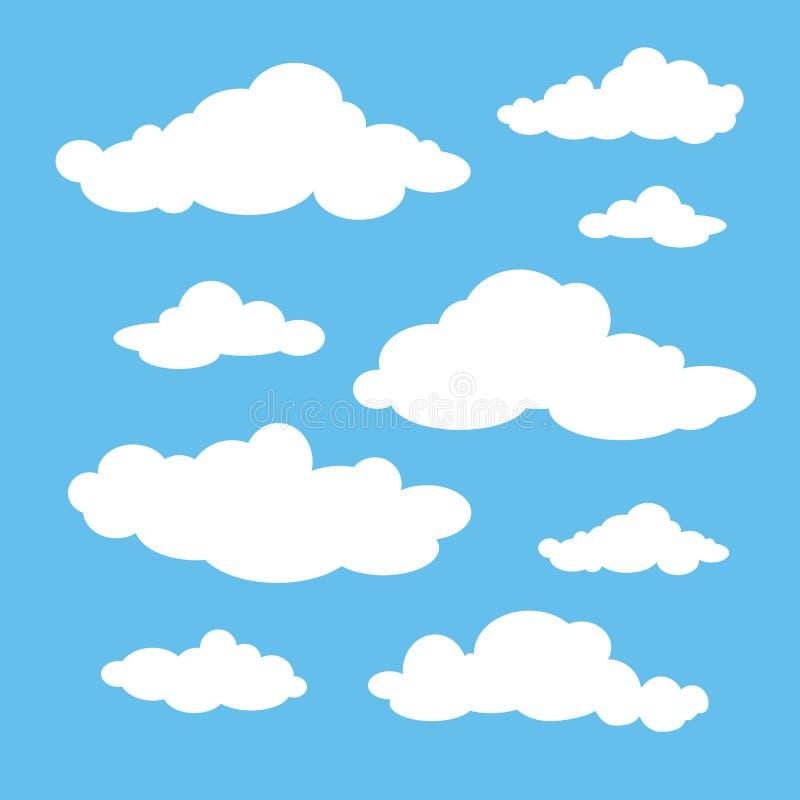 Белые установленные облака иллюстрация вектора