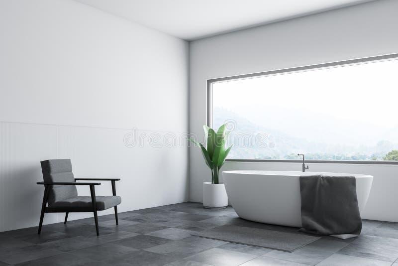 Белые ушат и кресло угла bathroom бесплатная иллюстрация