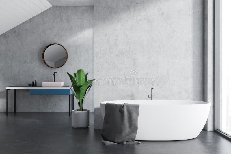Белые ушат и раковина в ванной комнате чердака бесплатная иллюстрация