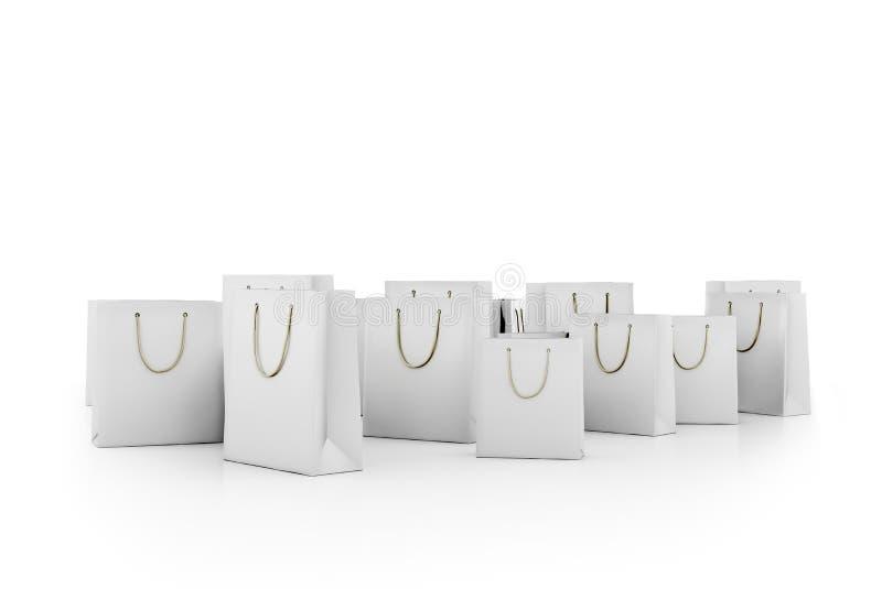 Белые хозяйственные сумки иллюстрация штока
