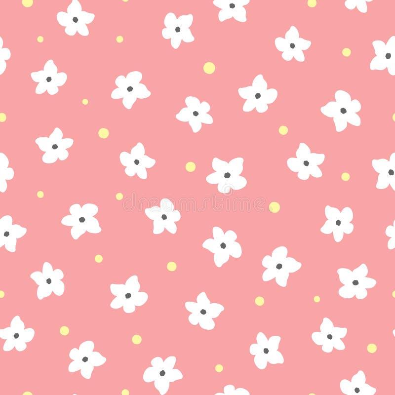 Белые цветки и желтые точки на розовой предпосылке флористическая картина безшовная иллюстрация вектора