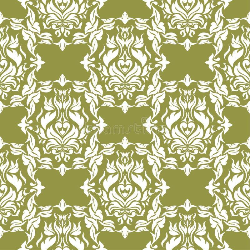 Белые цветки на предпосылке прованского зеленого цвета Орнаментальная безшовная картина бесплатная иллюстрация