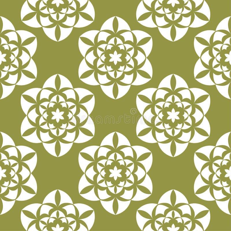 Белые цветки на предпосылке прованского зеленого цвета Орнаментальная безшовная картина иллюстрация вектора