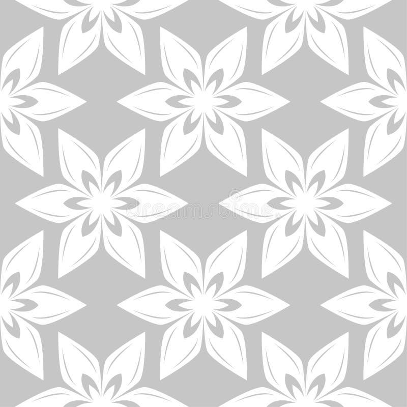 Белые цветки на серой предпосылке Орнаментальная безшовная картина иллюстрация вектора