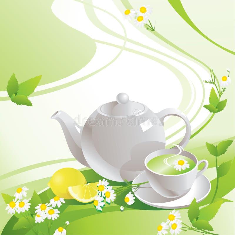 Белые чайник и чашка с зеленым чаем бесплатная иллюстрация