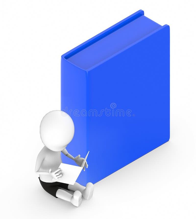 белые человеки 3d смотря бумагу он держит пока сидящ на том основании рядом с голубой коробкой иллюстрация штока
