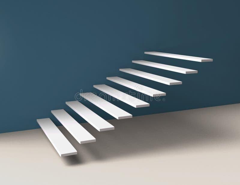 Белые шаги лестниц на галерею вводят стену в моду 3D бесплатная иллюстрация