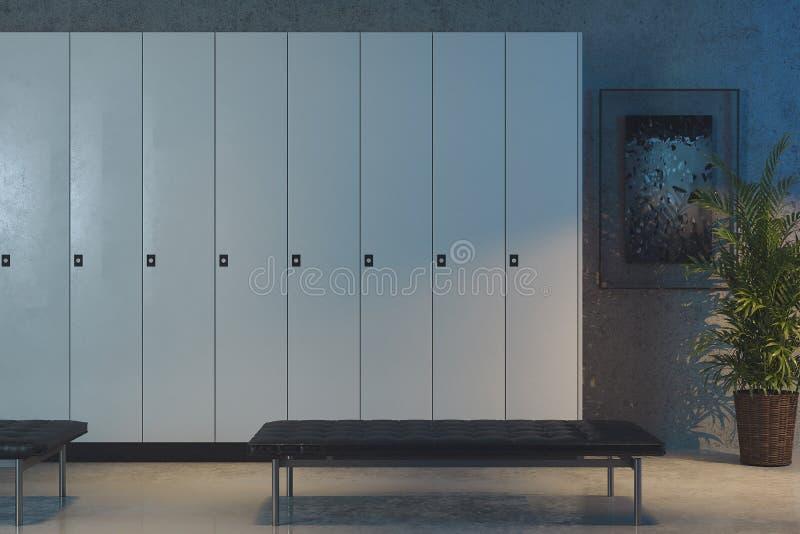 Белые шкафчики в раздевалке в спортзале r одна безопасная коробка раскрыта иллюстрация штока