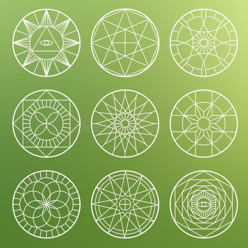 Белые эзотерические геометрические пентаграммы Символы вектора духовности священные мистические иллюстрация вектора