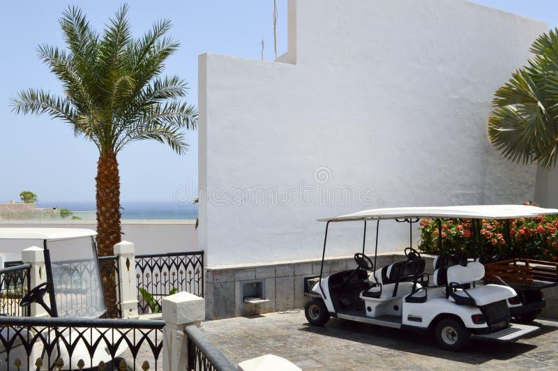 Белые электрические автомобили гольфа припаркованы в малых электротранспортах с тентами от солнца в теплое тропическое южное экзо стоковое фото rf
