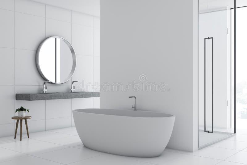 Белые inteiror, ушат и ливень ванной комнаты бесплатная иллюстрация