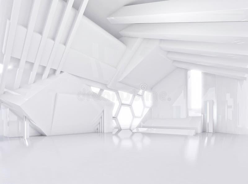 Белый абстрактный интерьер современного открытого пространства иллюстрация вектора
