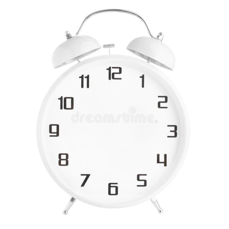 Белый будильник без рук изолированных на белизне стоковая фотография rf