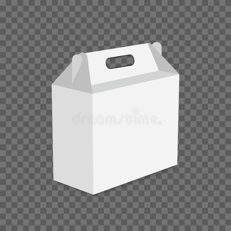 Белый вектор коробки для завтрака картона на прозрачной предпосылке стоковое изображение