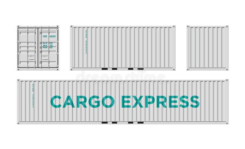 Белый грузовой контейнер доставки для снабжения и транспорт изолированный на белой иллюстрации вектора предпосылки легкой для тог бесплатная иллюстрация