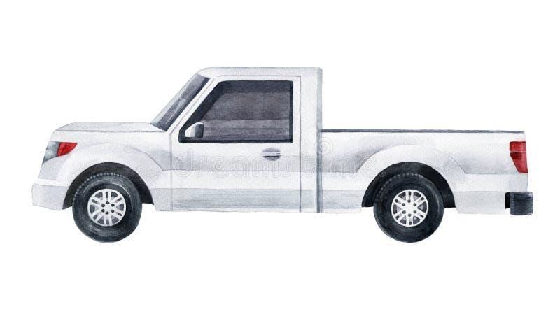 Белый грузовой пикап иллюстрация штока