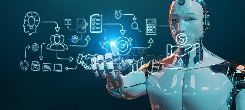 Белый гуманоид создавая интерфейс искусственного интеллекта бесплатная иллюстрация