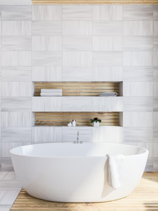 Белый деревянный интерьер ванной комнаты, ушат бесплатная иллюстрация