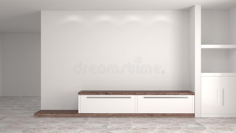 Белый деревянный современный шкаф в доме предпосылки пустой комнаты внутреннем конструирует иллюстрацию 3d, полки и книги на стол иллюстрация штока