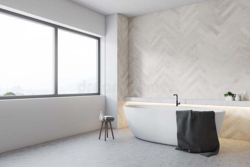 Белый деревянный угол ванной комнаты, круглый ушат бесплатная иллюстрация