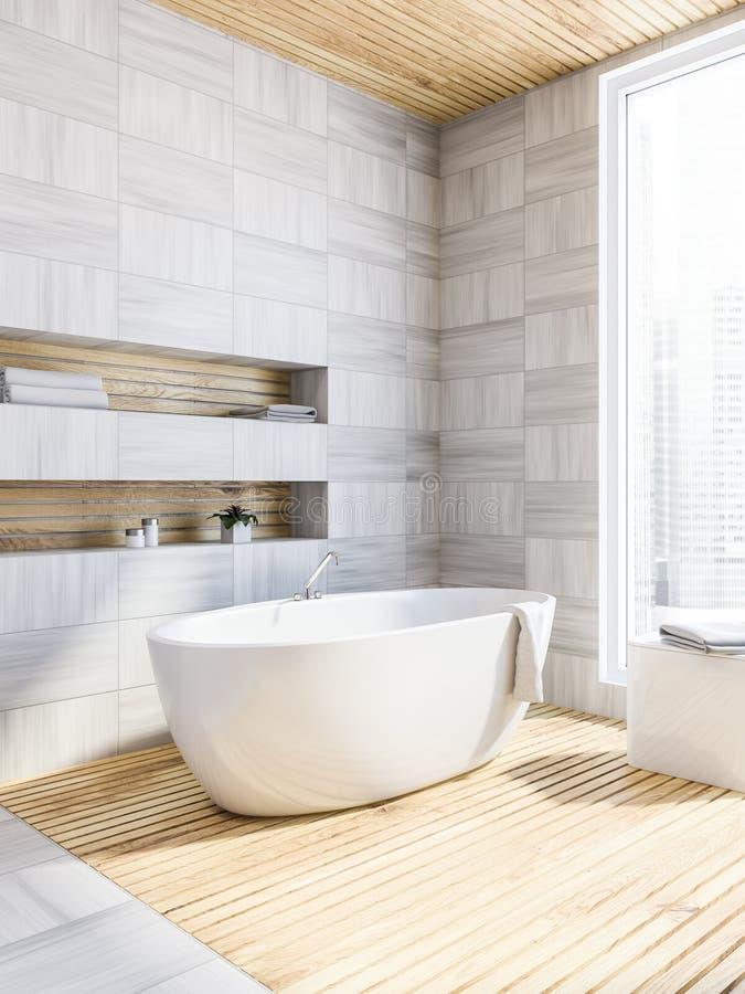 Белый деревянный угол ванной комнаты, ушат иллюстрация вектора