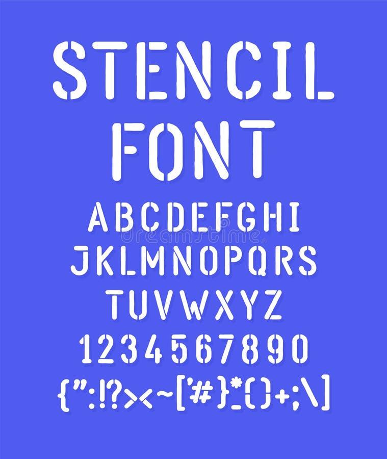 Белый затрафареченный шрифт вектор Письма все отдельно Набор писем, полностью английский алфавит Латинские характеры Битник иллюстрация вектора