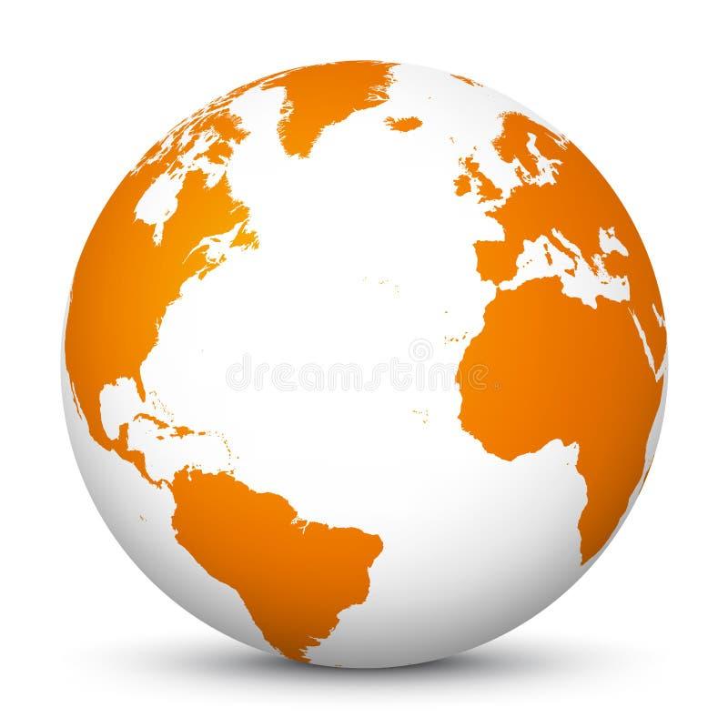 Белый значок глобуса 3D с оранжевыми континентами и Атлантическим океаном в центре - землей планеты - символ мира иллюстрация вектора
