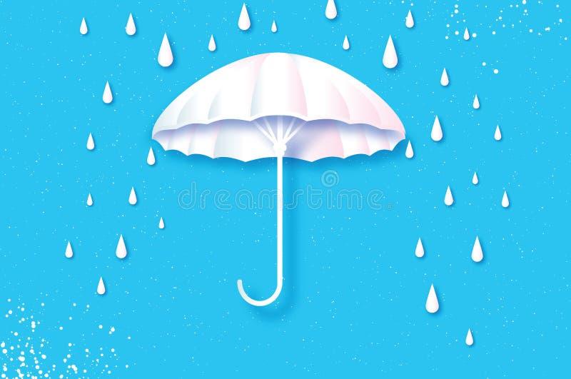 Белый зонтик Воздух с идти дождь Падение дождя Origami ненастная погода Защита и безопасность Парасоль на голубом небе Счастливый иллюстрация вектора