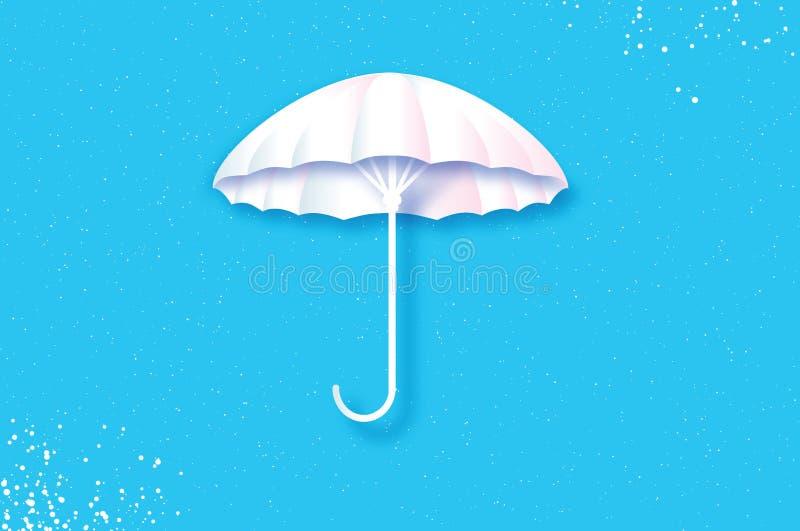 Белый зонтик Защита и безопасность Парасоль на голубом небе бесплатная иллюстрация