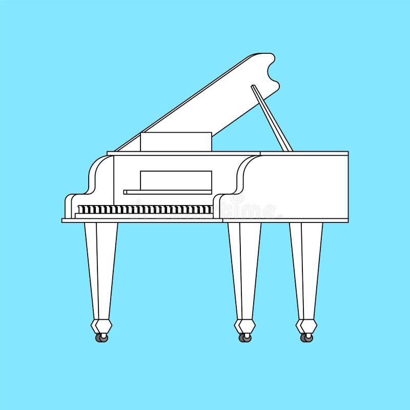 Белый изолированный рояль Illustrati вектора музыкального инструмента бесплатная иллюстрация