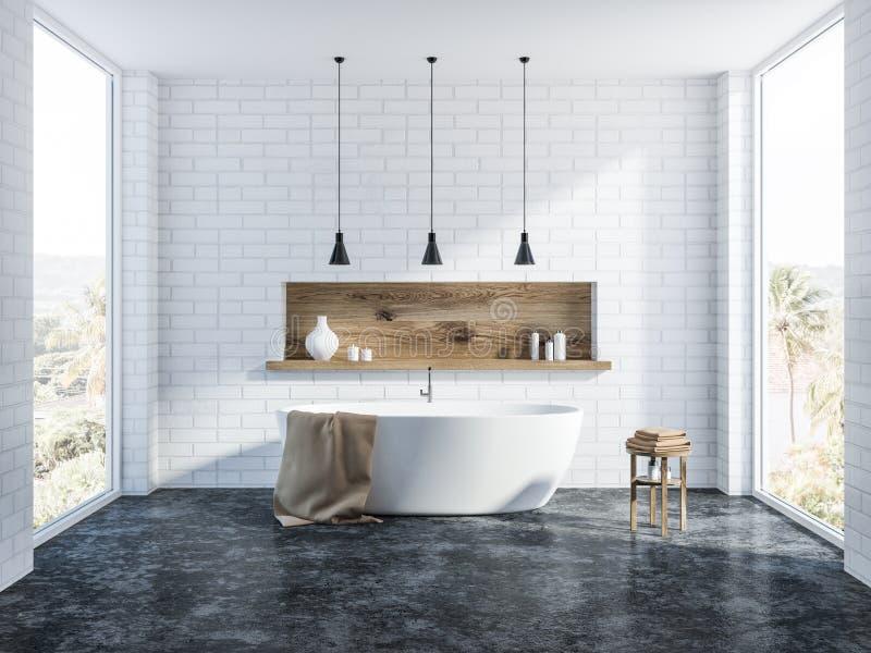 Белый интерьер ванной комнаты кирпича, ушат иллюстрация вектора