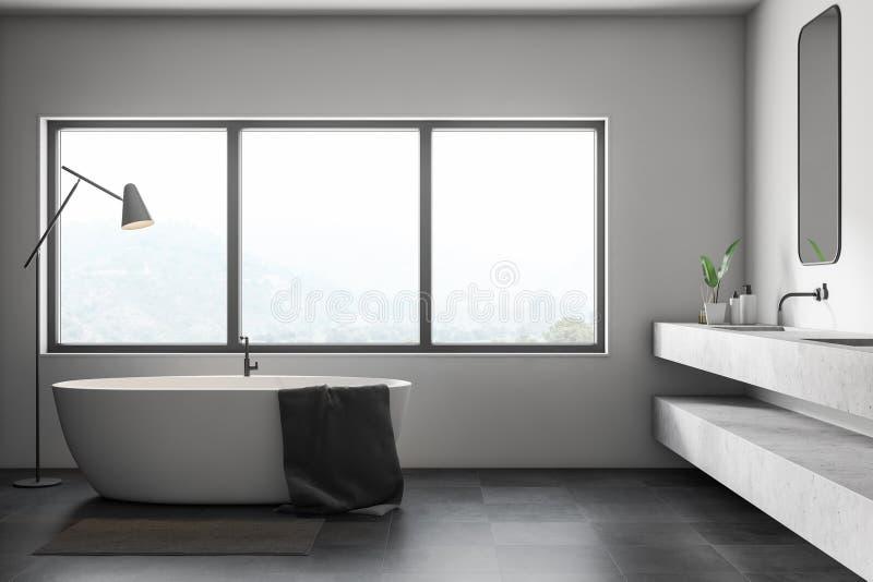Белый интерьер ванной комнаты, ушат и двойная раковина бесплатная иллюстрация