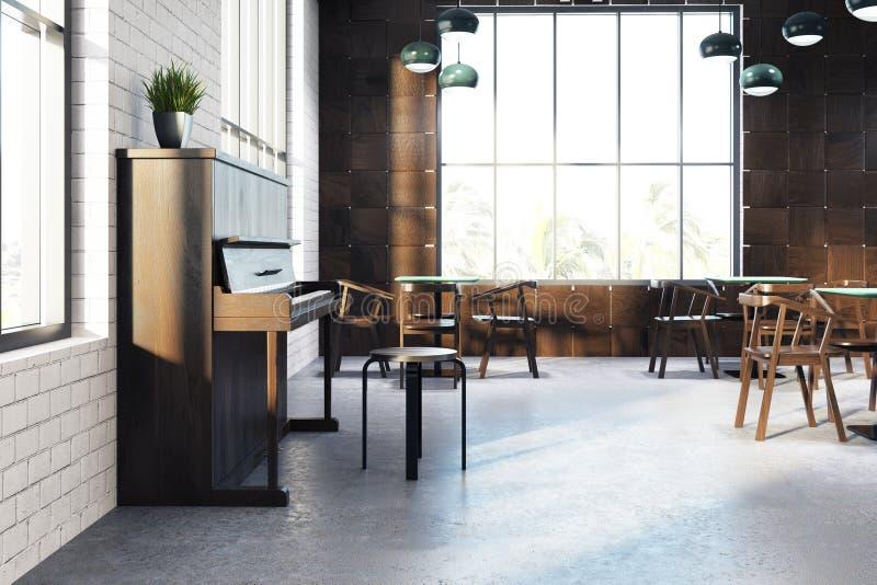 Белый интерьер кафа, рояль, сторона бесплатная иллюстрация