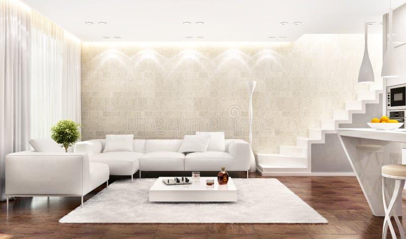 Белый интерьер современной кухни совмещенный с живущей комнатой иллюстрация вектора
