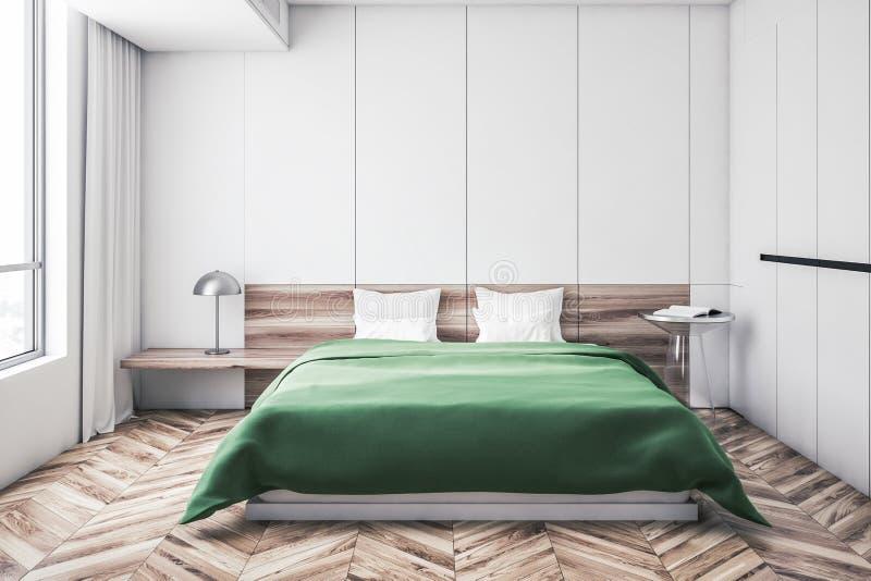 Белый интерьер спальни хозяев, зеленая кровать иллюстрация вектора