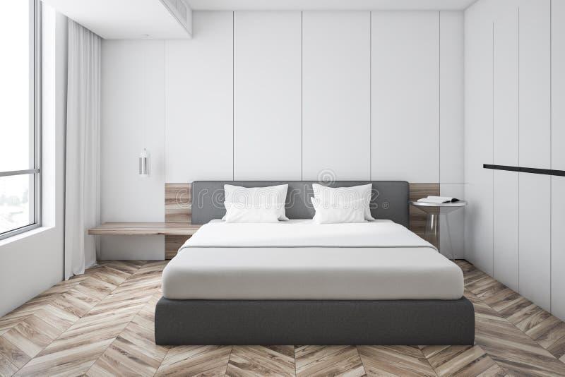 Белый интерьер спальни хозяев, шкаф иллюстрация штока