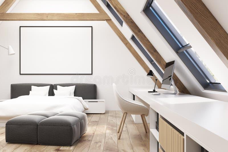Белый интерьер спальни чердака, плакат иллюстрация вектора